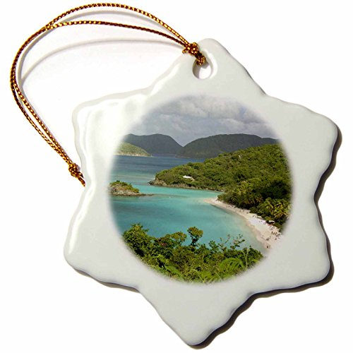 3dRose orn_70005_1 USVI St. John Trunk Bay Virgin Islands Cindy Miller Hopkins Snowflake Decorative Hanging Ornament, Porcelain, 3-Inch -