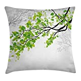 Ambesonne Nature Decor Throw Pillow Cushion Cover by, Twiggy Spring Tree Branch with Refreshing Leaves Summer Peace Woods Graphic, Decorative Square Accent Pillow Case, 18 X 18 Inches, Green Grey