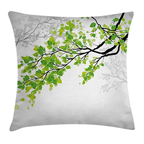 Ambesonne Nature Decor Throw Pillow Cushion Cover by, Twiggy Spring Tree Branch with Refreshing Leaves Summer Peace Woods Graphic, Decorative Square Accent Pillow Case, 18 X 18 Inches, Green Grey by Ambesonne