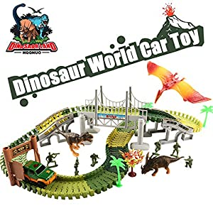 HQQNUO Dinosaur Toys Track Car Sets Jurassic World with 144 Pcs Magic Tracks 5 Soldier 3 Dinosaurs 1 Vehicles 1 Hanging Bridge Track Car Toys for Girls and Boys