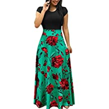 BODOAO Womens Casual Floral Printed Maxi Dress Short Sleeve Party Long Dress