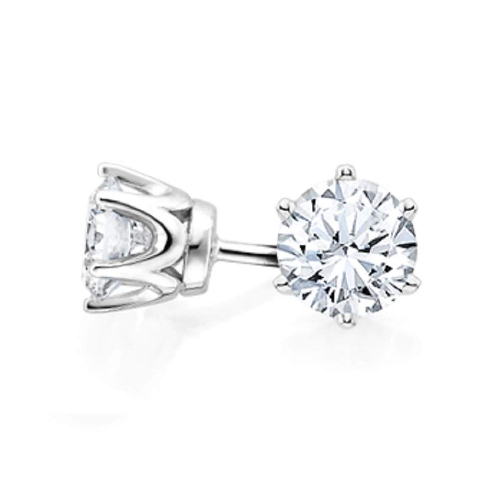 bbamjewelry Certified Round Cut Six Prong Real Moissanite Solitaire Stud Earrings In 14K White Gold Plated