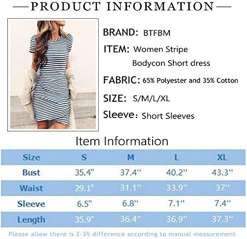 BTFBM Women's 2020 Casual Crew Neck Short Sleeve Ruched Stretchy Bodycon T Shirt Short Mini Dress 4