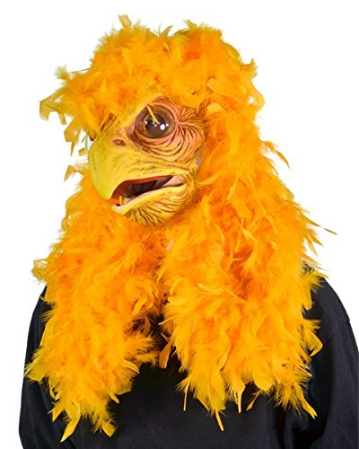 Zagone Super Chicken Mask, Yellow Bird Feathers Moving Mouth