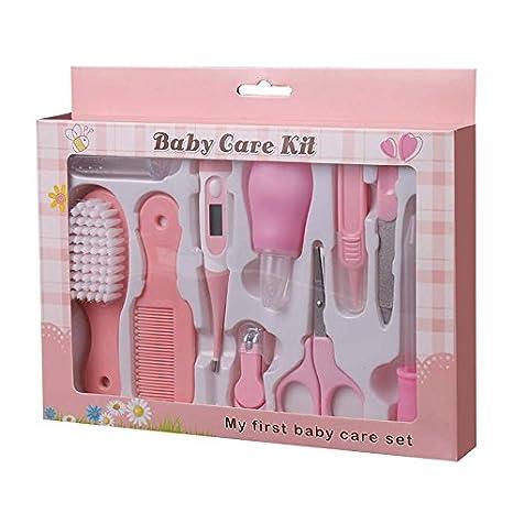 10 pcs kit para cuidar la higiene de los bebés,Estuche de cuidados y salud para bebe,Color Rosa