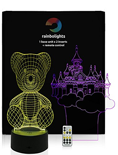 BEST XMAS GIFT FOR GIRLS 3D Illusion night light Fairy Castle & Teddy Bear Design 7 Color and Variety Of Light Modes – USB Cable & Power Plug & Remote Included by rainbolights.