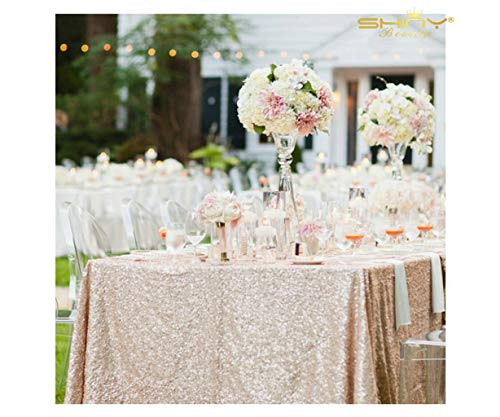 (Sequin Tablecloth 60x102-Inch Champagne Blush Shimmer Table Cover 2 Pack Rectangular Sequin Table Cloth Beautiful Champagne Table Linens for Weddings Party Baby Shower Decorations ~190506S)