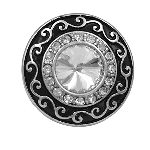Swirl Cocktail Ring (Large Abstract Rhinestone Statement Big Stretch Cocktail Ring (Black Swirl Round Silver Tone))