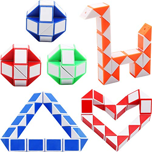 (Sunshane 6 Pack 24 Blocks Magic Snake Cube, Mini Snake Speed Cubes, Twist Puzzle Toys for Kids Party Bag Fillers, Party Favours, Random Color)