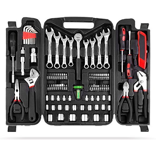 MVPOWER 95 Piece Home Mechanics Repair Tool Kit,General Household Hand Tool Set Wrench Set with Plastic Toolbox Storage Case from MVPower