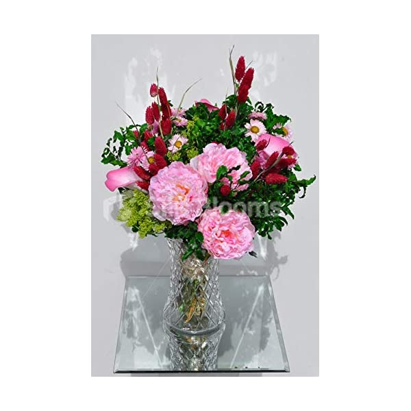 Silk Blooms Ltd Artificial Pale Pink Peony and Foxtail Floral Arrangement w/Calla Lilies and Preserved Pittosporum