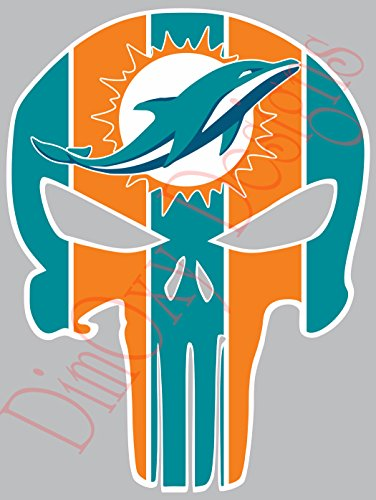 - One Stop Nails Dolphins Punisher (Skull) Vinyl Decal. Size: 9