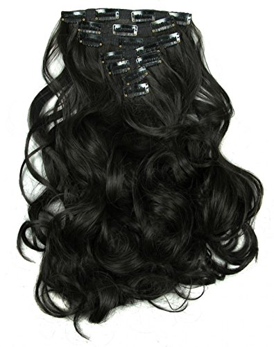 LOUISE MAELYS 16 Clips in Hair Extensions Ponytail Long Wavy Hair Piece -