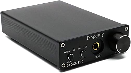 Dilvpoetry X6 Pro HiFi DAC Headphone Amplifiers Portable Stereo Audio Digital Amplifier USB Coaxial Optical 24Bit 192kHz Decoder Amp Black
