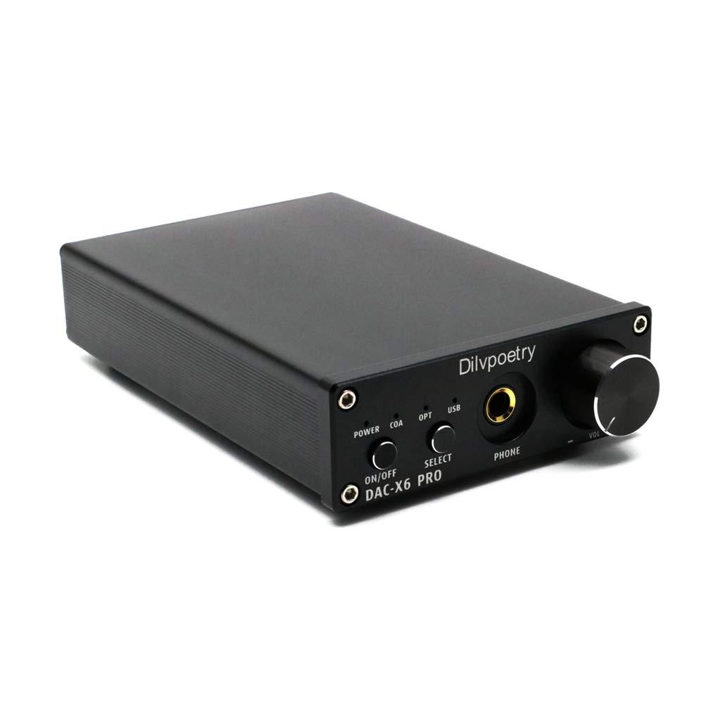 Dilvpoetry X6 Pro DAC HiFi Headphone Amplifier Decoder 24Bit/192kHz  Coaxial/Optical/USB Stereo Audio Digital Analog Converter(Black)