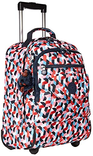 Kipling Sanaa Large Rolling, Adjustable, Padded Backpack Straps, Zip Closure, Forever Tiles