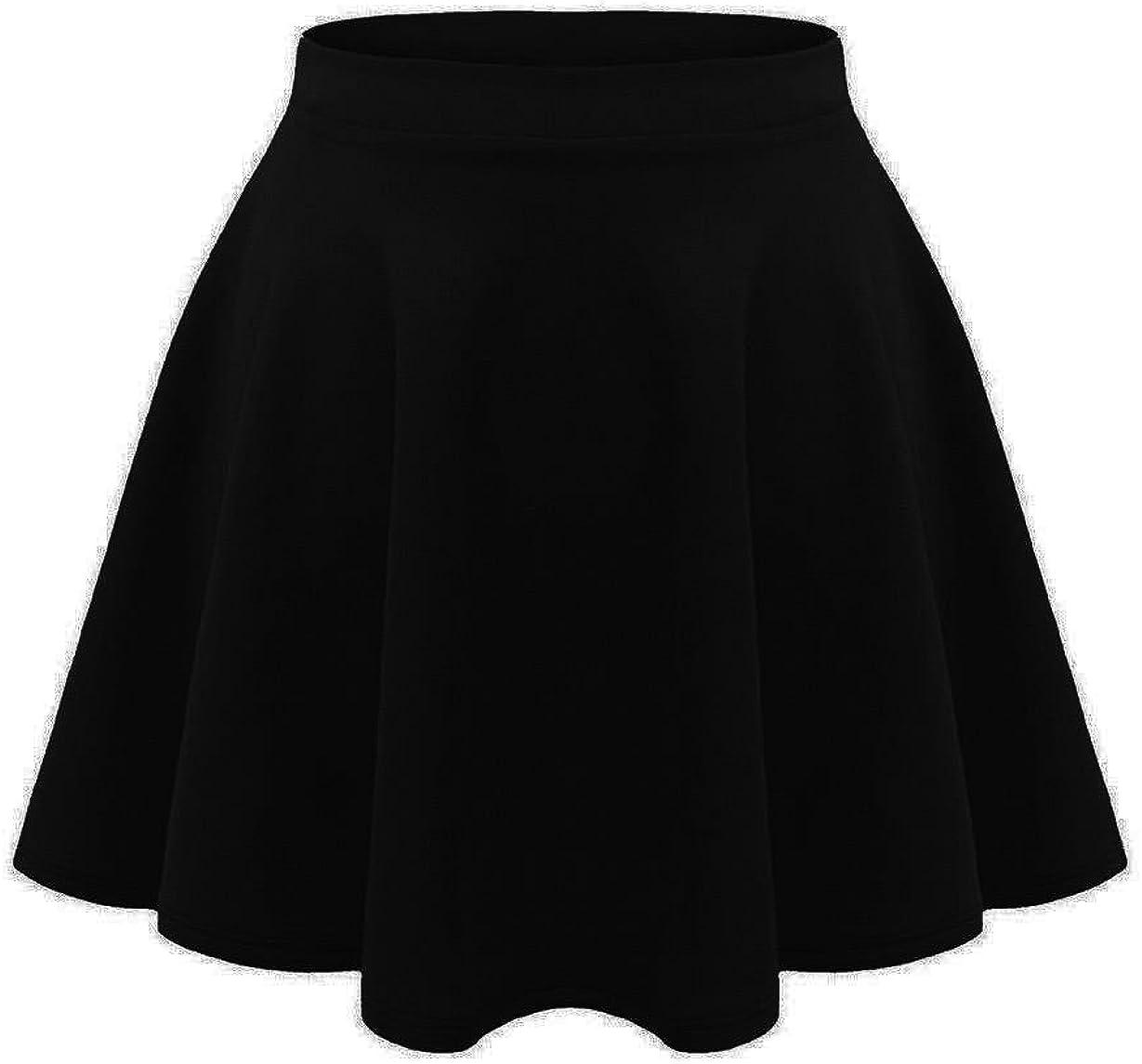 janisramone Kids Girls Children New Plain Flippy Flared High Waistband Stretch Short Mini Skater Skirts