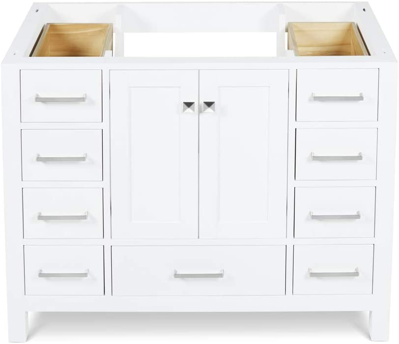 "DKB Beckford Series 42"" Inch Bathroom Vanity Base Cabinet in White 