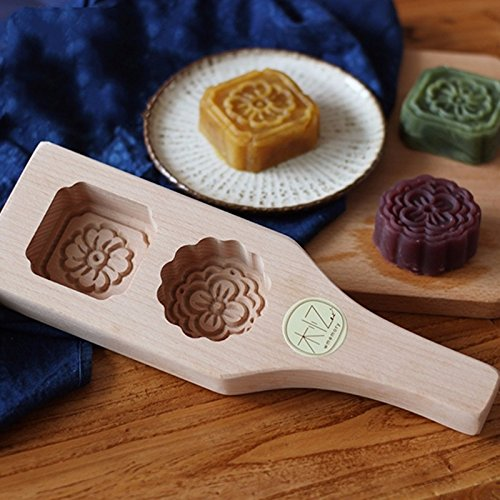 1pcs Handmade 2 Holes Wood Pasta / Pastry / Pumpkin Pie/moon Cake Mold-flower Pattern