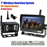 Rupse 7-inch HD Monitor Wireless IR Night Vision Rear View Back up Camera System for RV Truck Trailer Bus or Fifth-Wheel