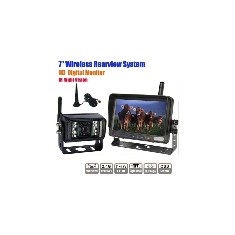 Rupse 7 inch HD Monitor Wireless IR Night Vision Rear View Back up Camera System for RV Truck Trailer Bus or Fifth Wheel