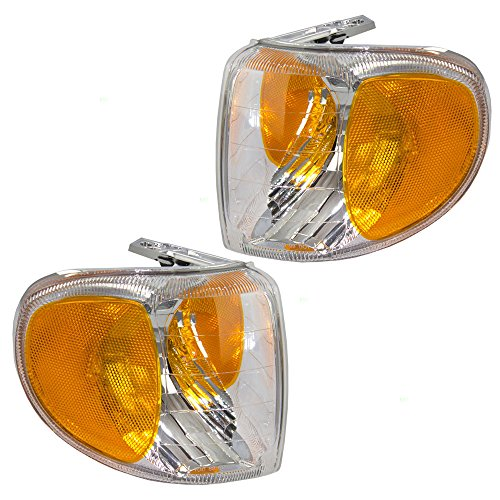 (Driver and Passenger Park Signal Corner Marker Light Lamp Lens Replacement for Mercury SUV F87Z13201AB F87Z13200AB)