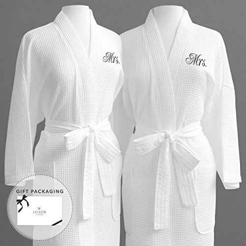 Same-Sex Couple's Waffle Weave Bathrobe Set 100% Egyptian Cotton-Unisex/One Size Fits Most-Spa Robe,Luxurious,Plush,Elegant Script Embroidery-Perfect Wedding Gift- Mrs./Mrs with Gift Packaging by Luxor Linens