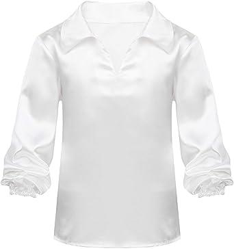 MSemis Camisa Danza Latina para Niños Chicos Traje Baile Latino Camiseta Cuello V Manga Larga Ropa Danza Tango Rumba Actuación Competencia: Amazon.es: Ropa y accesorios
