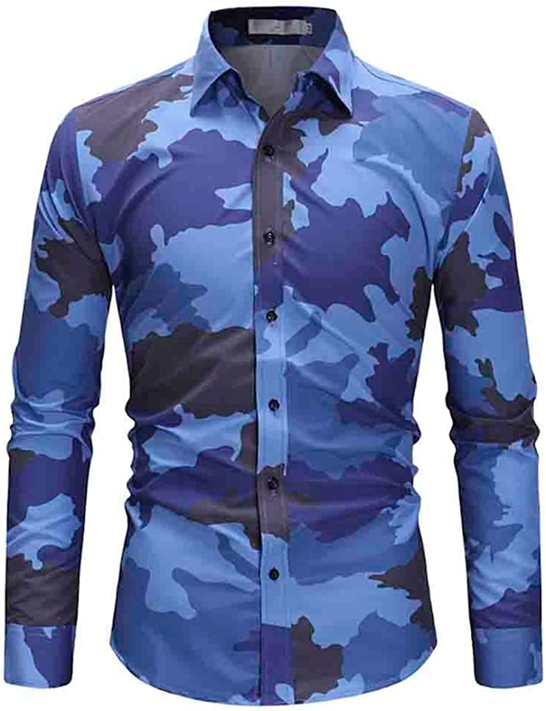 Overdose Camisas De Hombre Manga Larga Tallas Grandes Botón De Camuflaje Blusa Superior Informal De Gran Tamaño Camisas De Moda Camisas Hombre Coderas Hippie Vintage: Amazon.es: Ropa y accesorios