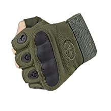 Myheartgoon Mens Tactical Gloves Hard Knuckle Half-finger Fingerless Military Gear Tactical Airsoft Hunting Riding Cycling Gloves