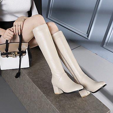 DESY Mujer Zapatos Semicuero Otoño Invierno Botas de Moda Botas Tacón Robusto Dedo redondo Hasta la Rodilla Para Casual Negro Beige beige