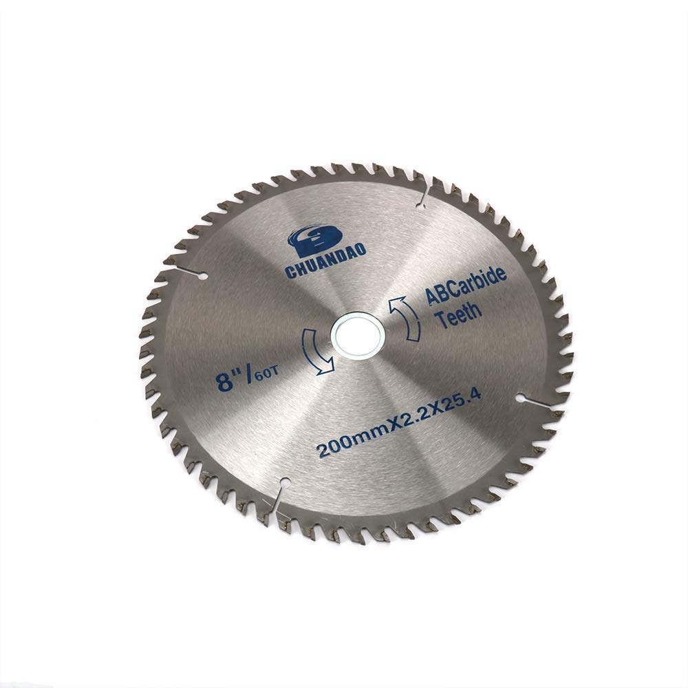 Join Ware 8 Inch 200mm 60 Tooth Carbide Circular Saw Blade For Wood Aluminium Plate Cutting With 1'' Arbor