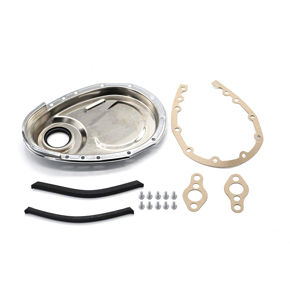 Lasamot Chrome Timing Chain Cover Kit Fit for SB Chevy 327 350 383 400 SBC Gasket Seal Bolts Set