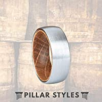 Whiskey Barrel Ring Silver Tungsten Wedding Band Mens Ring with Brushed Finish & Comfort Fit