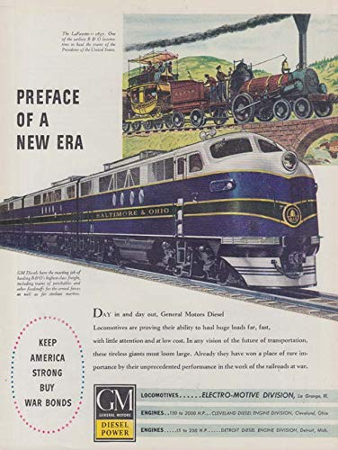 Preface of a new era Baltimore & Ogio GM EMD Diesel Locomotive ad 1944 NW