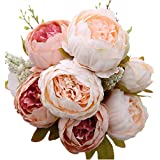 Luyue Vintage Artificial Peony Silk Flowers Bouquet Home Wedding Decoration,Light Pink