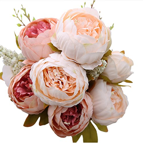 Luyue Vintage Artificial Peony Silk Flowers Bouquet Home Wedding Decoration,Light ()