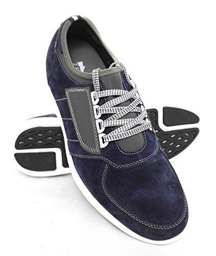Zerimar Scarpe Sportive con Aumentato Interno di 7 cm Realizzata in Pelle di Alta Qualità 100% Pelle Colore Blu Scuro Taille 40