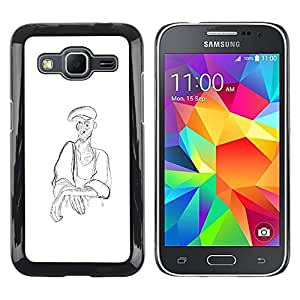 Shell-Star Arte & diseño plástico duro Fundas Cover Cubre Hard Case Cover para Samsung Galaxy Core Prime / SM-G360 ( Man Peasant Art Pencil Drawing Coal Hat )