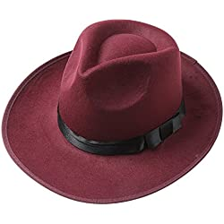 BABEYOND 1920s Gatsby Panama Fedora Hat Cap for Men Gatsby Hat for Men 1920s Mens Gatsby Costume Accessories (Wine Red)