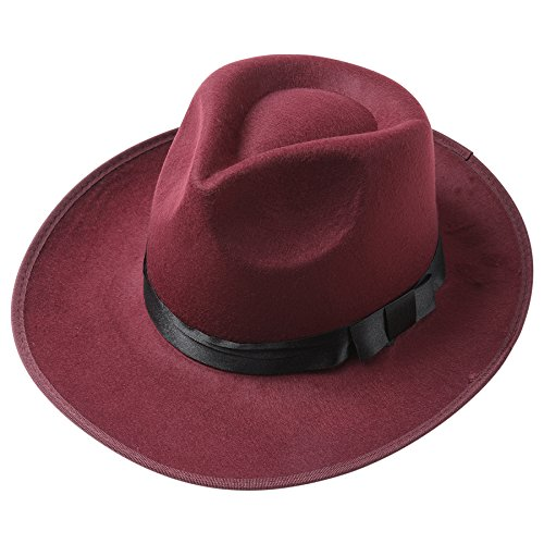 BABEYOND 1920s Gatsby Panama Fedora Hat Cap for Men Gatsby Hat for Men 1920s Mens Gatsby Costume Accessories (Wine Red) -