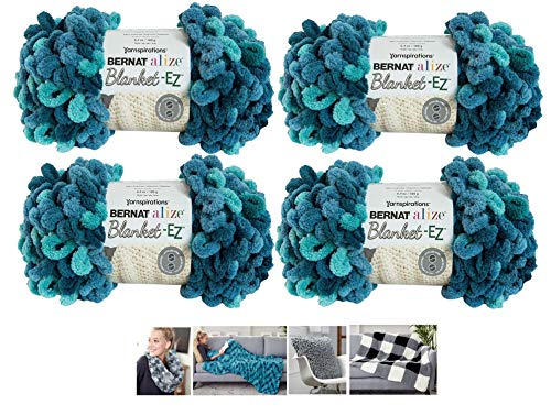Bernat Alize EZ Blanket Yarn Bundle 100% Polyester 4 -Pack Seaport Teals Plus 4 - Yarn Loop