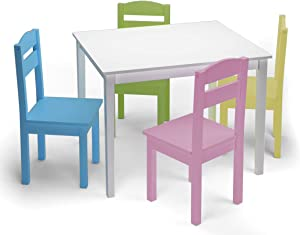 Nightcore Kids Wooden 4, Activity 2 to 6 Years, Toddler Game, Playroom Furniture, Picnic w/Chairs, Solid Wood 5 Piece Dining Table Set, White & Pastel