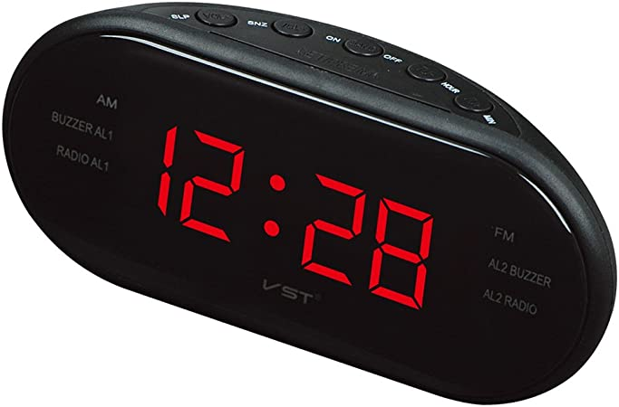 MagiDeal Nuevo Reloj de Pantalla LED Digital Am FM Radio Despertador con Alarma Dual - UE Plug - Rojo