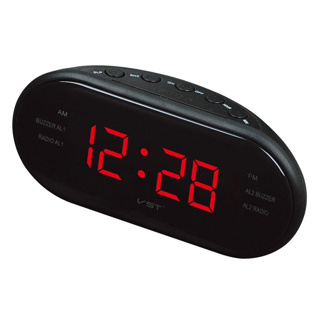 MagiDeal Reloj de Pantalla LED Digital Am FM Radio Despertador con Alarma Dual - UE Plug - Rojo