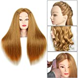 20 Inch Mannequin Head Hair Styling Human Hair Training Head Manikin Cosmetology Doll Head Hair Hairdressing training model with clamp Golden Color