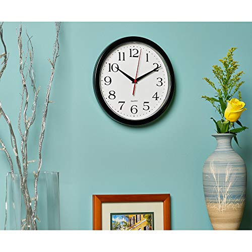 Bernhard Products Black Wall Clock Silent Non Ticking - 10 Inch Quality Quartz Battery Operated Round Easy to Read Home… 5