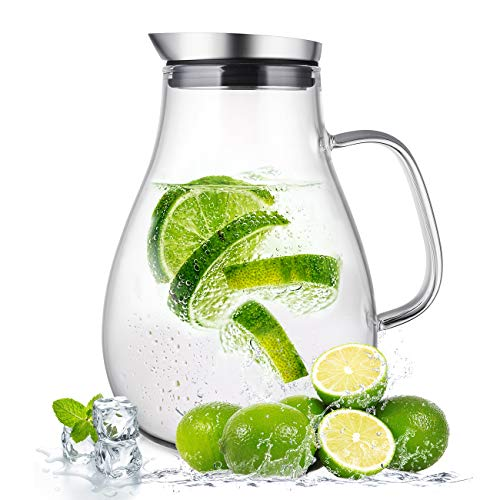 (2.0 Liter Glass Pitcher with Lid, Water Carafe Jug for Hot/Cold Water, Ice Tea and Juice Beverage)