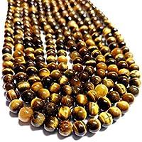 "JEWEL BEADS Beautiful jewelry AAA++ Quality Tiger Eye Smooth Cabochon Balls Beads Full 13"" Strand 6.5To 6 mm/Natural Tiger Eye beads Gemstone/Tiger Eye Loose Beads Code- UKA-10424"