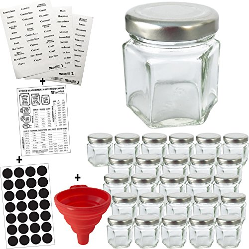 26-PACK Mini Hexagon Glass Jars with 2 Types of Labels: Chalk Round Labels & 113 Printed Spice Stickers by Talented Kitchen. 1.5oz Mini Glass Jar, Small Funnel for Bottles or Mini Honey Jars in Bulk ()